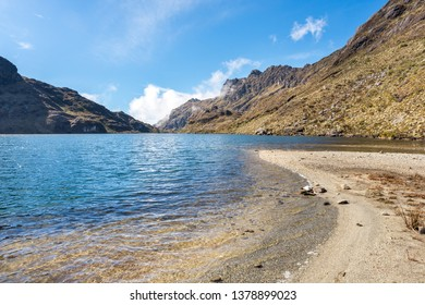 """Panoramic view of """"Saint Christ"""" Lake, in the venezuelan Andes mountains"""