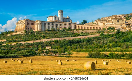 Panoramic view of the Saint Francis Basilica in Assisi, in the Province of Perugia, in the Umbria region of Italy.