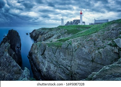 Panoramic view of the Saint Mathieu lighthouse, Brittany, France
