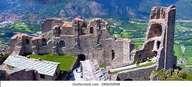 Panoramic view of the Saint Michael monastery in the Susa Valley, near Turin, Piedmont, Italy, called Sacra di San Michele