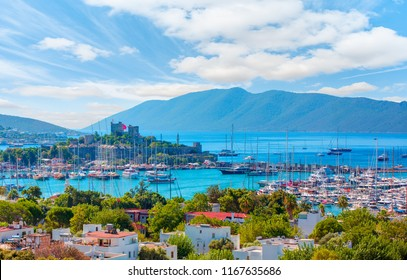 Panoramic view of Saint Peter Castle (Bodrum castle) and marina - Bodrum, Turkey