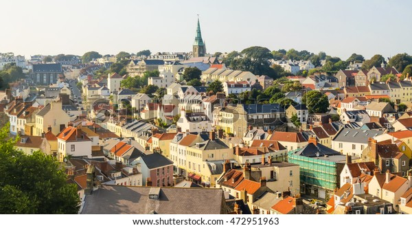 Panoramic view of the Saint Peter Port at sunset. Saint Peter Port is the capital of Bailiwick of Guernsey, Channel Islands
