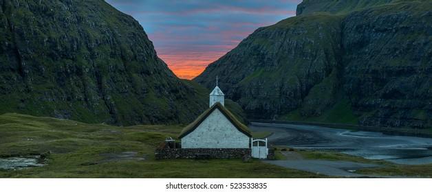 Panoramic view of Saksun church, Faroe Islands