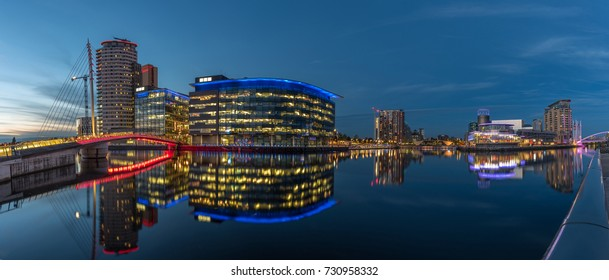 Panoramic view of Salford Quays at night time
