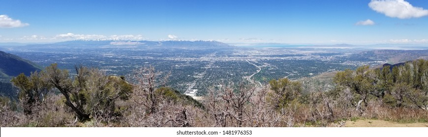 Panoramic view of Salt Lake City, Great Salt Lake and Oqquirh Mountains