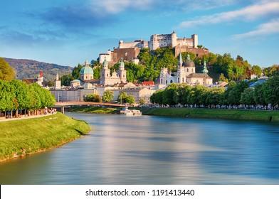 Panoramic view of Salzburg skyline with Festung Hohensalzburg and river Salzach, Salzburger Land, Austria