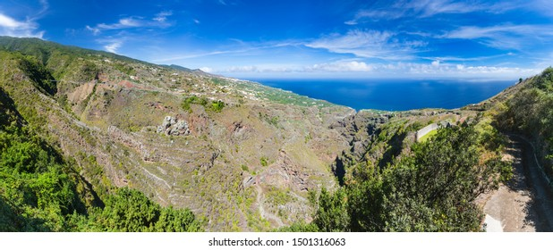 Panoramic view from San Bartolome on the east coast of La Palma, Spain into a canyon.