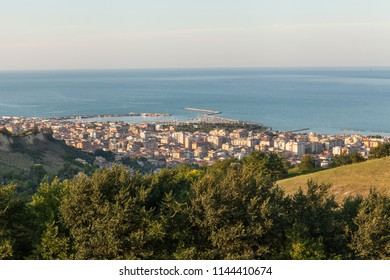 Panoramic view of San Benedetto del Tronto city in the sunset light. Holiday city situated on the Adriatic sea coast, Italy