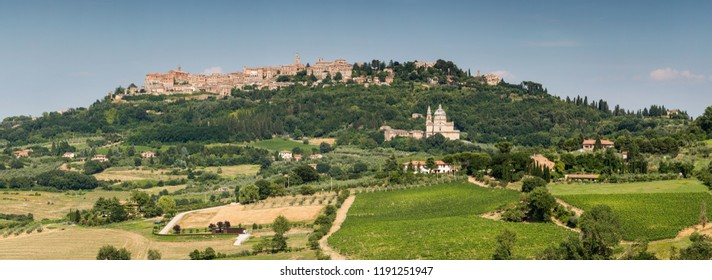 Panoramic view of the San Biagio church and hilltop town of Montepulciano in Tuscany, Italy