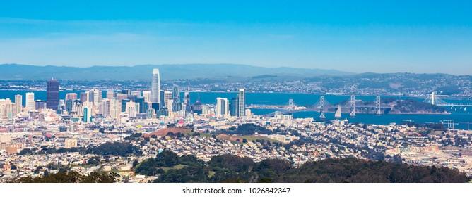 Panoramic view of San Francisco with bay bridge