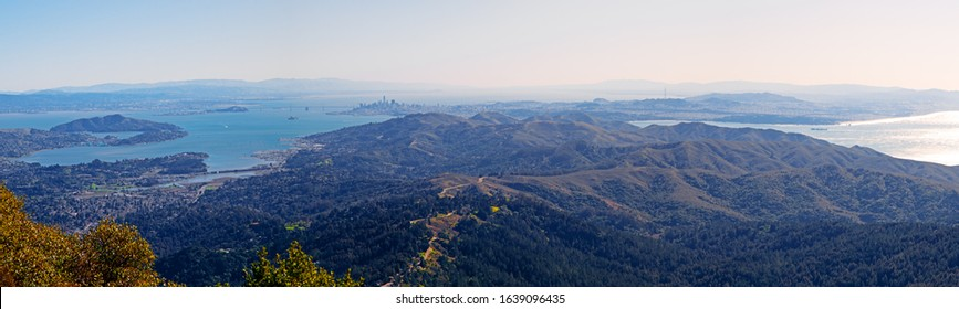 Panoramic view of San Francisco Bay area as seen from Mi. Tamalpais