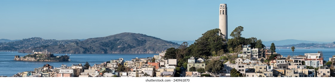 Panoramic view of the San Francisco bay including Alcatraz island and Coit Tower
