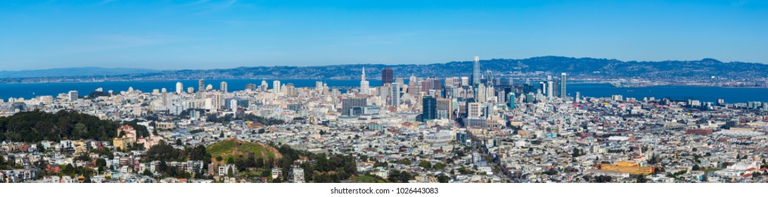 Panoramic view of San Francisco, California, with blue sky