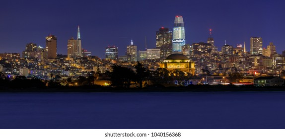 Panoramic view of San Francisco Downtown, viewed from Marina District in San Francisco, California, USA. Long exposure