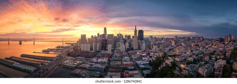 Panoramic view of San Francisco Skyline at Sunrise, California, USA