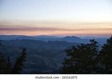 Panoramic view of  San Marino in the evening