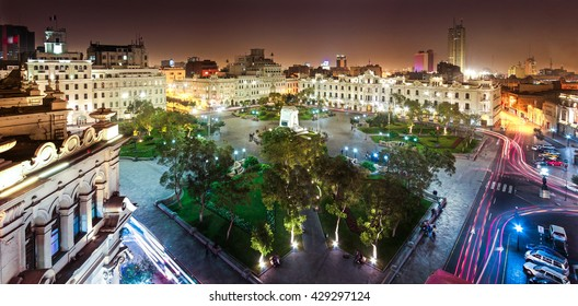 Panoramic view of San Martin square, Lima, Peru.