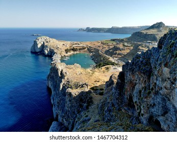 Panoramic view of the san paul bay , beatiful bay in Lindos.