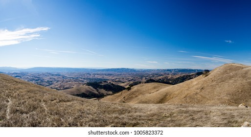 Panoramic view from San Ramon, Danville, Walnut Creek from hike in Morgan Territory Regional Preserve, Contra Costa County, East Bay Regional Park, California.  Sunny fall day.