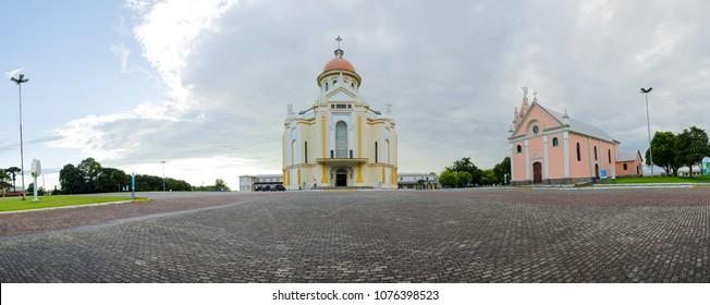 Panoramic view of the Sanctuary of Nossa Senhora de Caravaggio in Farroupilha, Rio Grande do Sul, Brazil, 2018.