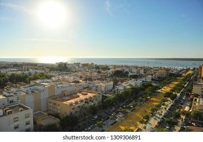 Panoramic view of Sanlucar de Barrameda and mouth of Guadalquivir river, province of Cadiz, Spain
