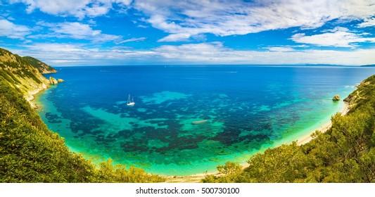 Panoramic view of Sansone beach, Elba Island, Tuscany,Italy.