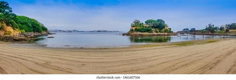 Panoramic view of Santa Cruz beach in Oleiros town