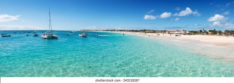 Panoramic view of Santa Maria beach in Sal Cape Verde - Cabo Verde