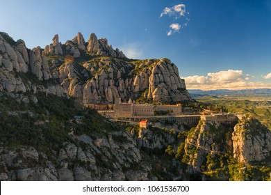 Panoramic view of Santa Maria de Monserrat abbey, Barcelona, Catalunya, Spain