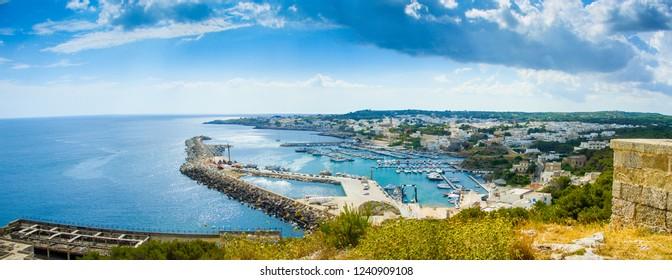 Panoramic view of Santa Maria di Leuca, Marina di Leuca and Punta Ristola, Apulia, Italy