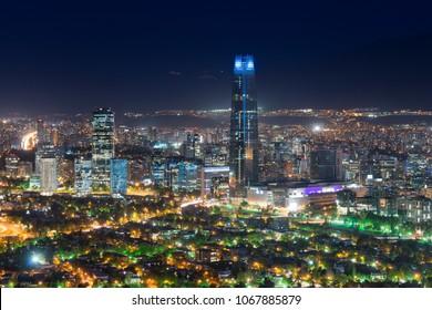 Panoramic view of Santiago de Chile with Costanera Center skyscraper