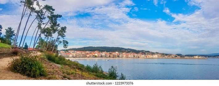 Panoramic view of Sanxenxo touristic city in Galicia, Spain