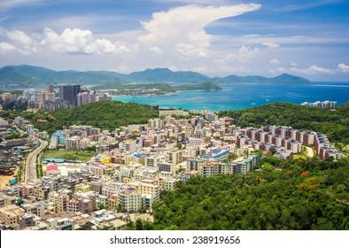 Panoramic view of Sanya city and Dadonghai bay from Luhuitou Park.