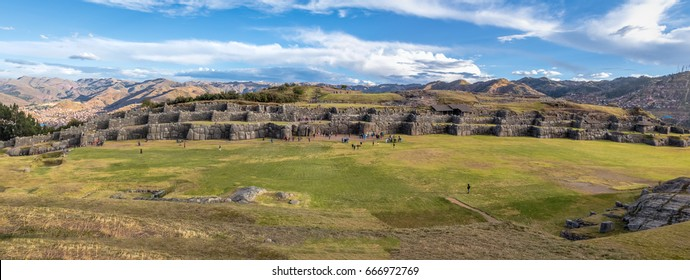 Panoramic view of Saqsaywaman or Sacsayhuaman Inca Ruins - Cusco, Peru