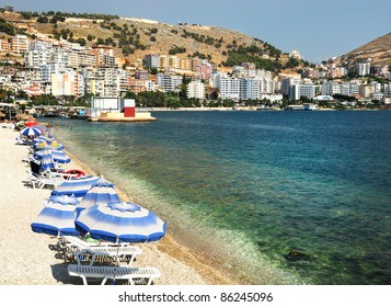 Panoramic view of Saranda bay.Albania