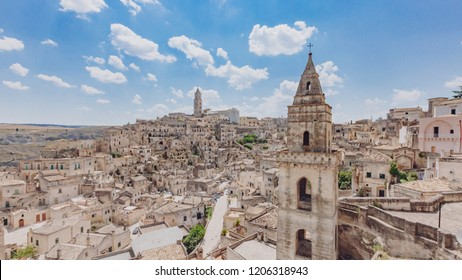 Panoramic view of the sassi of Matera, Italy