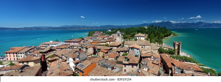 Panoramic view from The Scaliger Castle at Sirmione town, Lake Garda, Italy