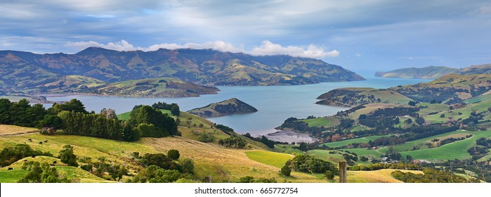 Panoramic view of scenic Banks Peninsula, famous for its bays, in Canterbury, New Zealand