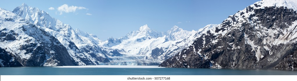 The panoramic view of scenic landscape in Glacier Bay national park (Alaska).