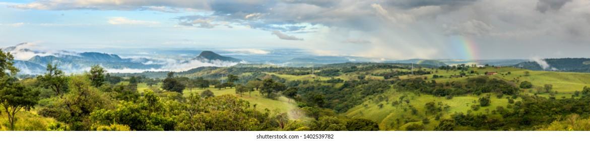 Panoramic view of scenic landscape near Rincon de la Vieja National Park in Costa Rica