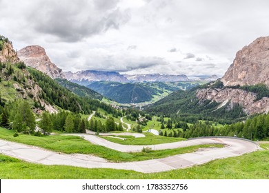 Panoramic view of the scenic road (Gardena Pass) through the pass between Val Gardena and Val Badia leading to the alpine town Colfosco