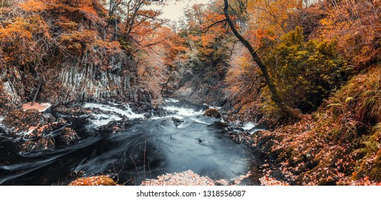 Panoramic view of scenic Swallow Falls at autumn in North Wales, UK