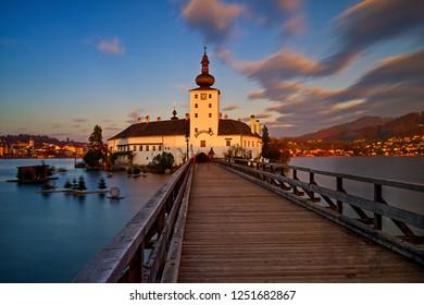 Panoramic view of Schloss Ort at sunset Gmunden, Traunsee, Austria, Salzkammergut