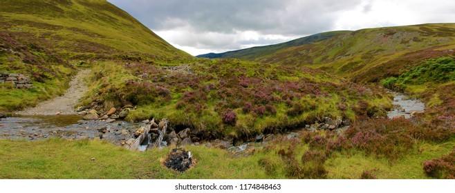 Panoramic view of Scottish Highlands. Braemar, Aberdeenshire, Scotland,UK. Cairngorms National Park, Royal Deeside.