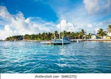 Panoramic view from sea at Caye Caulker dock.  Caye Caulker is a small island located approximately 20 miles from Belize City Belize.