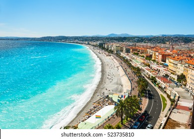 Panoramic view of the sea coast in Nice, France