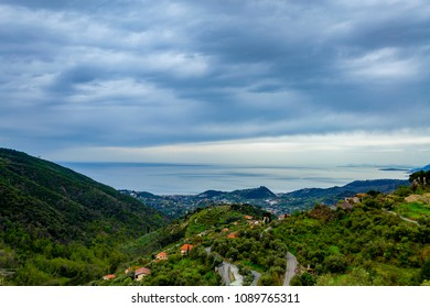 Panoramic view of the sea from the town of Seborga (Imperia, Liguria, Italy), counted among the most beautiful villages in Italy, in spring.