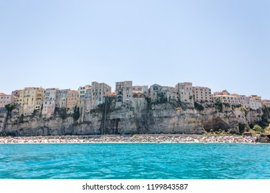 Panoramic view of the seacoast of Tropea in Calabria Italy