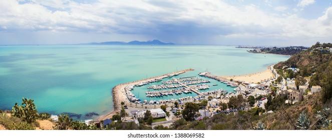 Panoramic view of seaside in Sidi Bou Said, Tunisia, North Africa