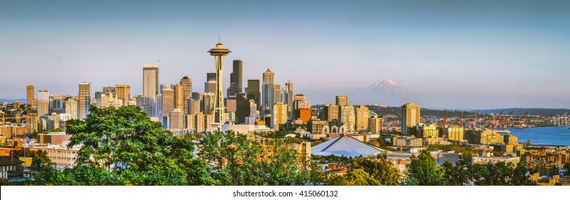Panoramic view of Seattle skyline in beautiful golden evening light at sunset with retro vintage Instagram style grunge pastel toned filter effect seen from Kerry Park, Seattle, Washington State, USA